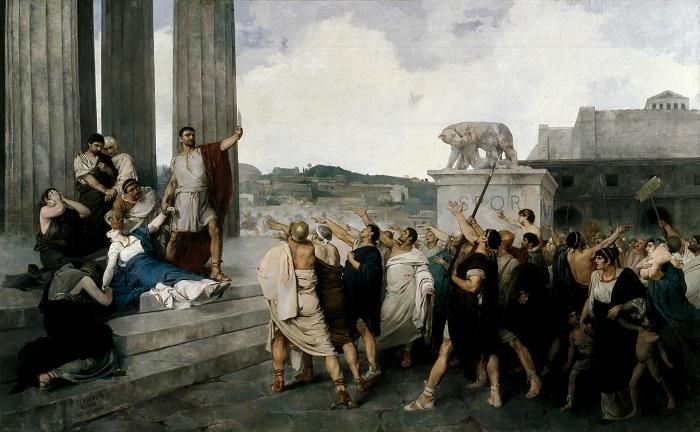 El origen de la República Romana, obra de Casto Plasencia hecha en el siglo XIX, recrea la muerte después de la violación de Lucrecia