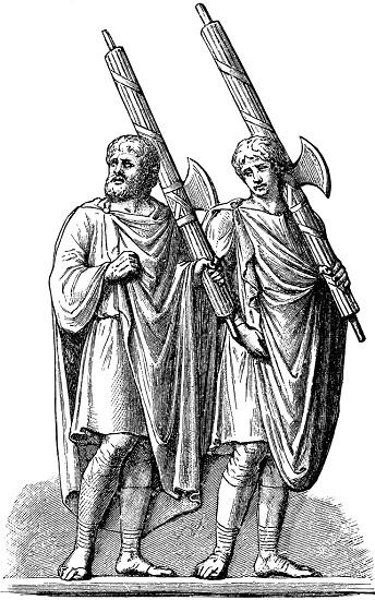 Ilustración que representa a lictores cargando los fasces de los cónsules de la República Romana para los que trabajan