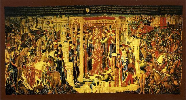 Tapiz sobre la coronación de Tarquinio Prisco, uno de los reyes romanos, expuesto en la catedral de Zamora
