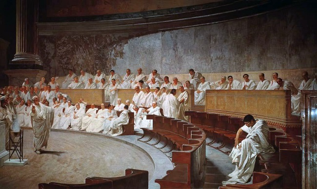 Obra del siglo XIX en el que se recrea una sesión del Senado romano, la cúspide de la sociedad romana