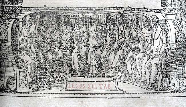 Alegoría de las Ley de las XII Tablas, del conflicto patricio-plebeyo, en un libro de derecho del siglo XVI