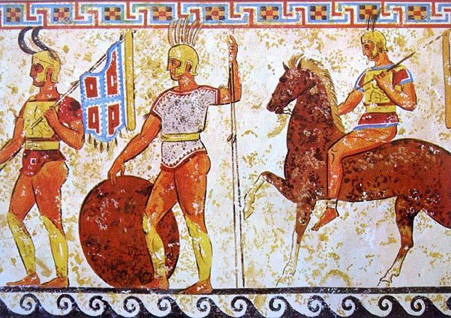 Representación de unos soldados samnitas, enemigos del ejército romano, en una tumba italiana del siglo IV aC