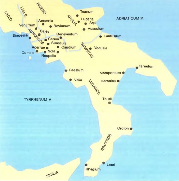 Mapa de las principales ciudades del sur de Italia, incluyendo Tarento