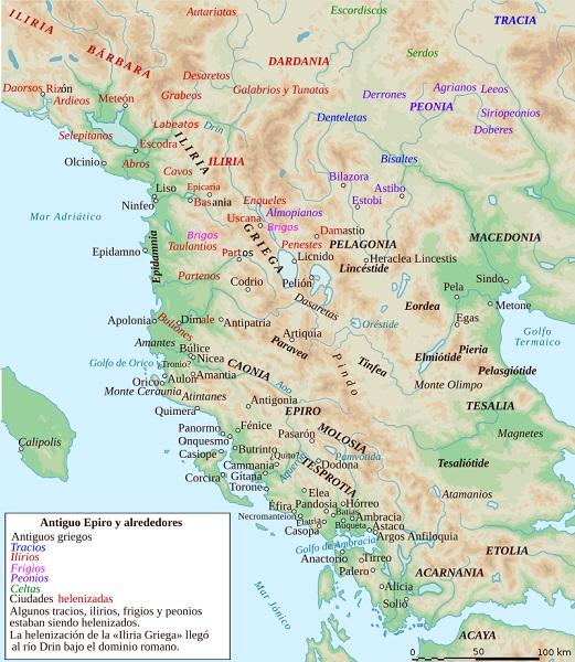 Mapa del Epiro y sus alrededores, incluyendo las regiones nombradas en este artículo sobre Pirro de Epiro