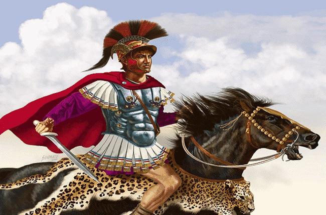 Ilustración que recrea el aspecto de Pirro de Epiro, antagonista romano en las Guerras Pírricas