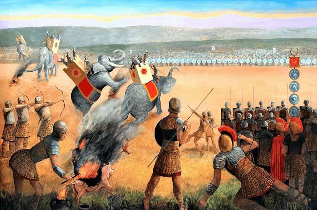 Ilustración en la que se observa a legionarios romanos haciendo varias artimañas para asustar a los elefantes durante la batalla de Benevento
