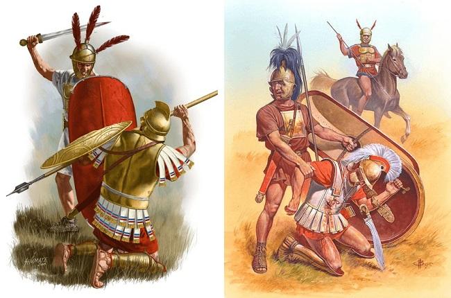 Imagen combinada de legionarios romanos combatiendo a falangistas epirotas durante la batalla de Benevento