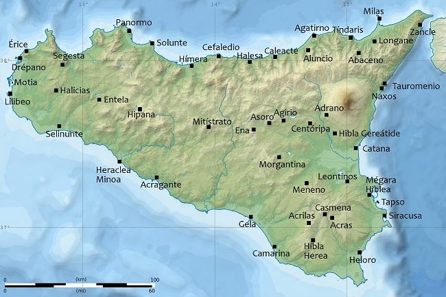 Mapa de las principales ciudades que encontró Pirro en Sicilia