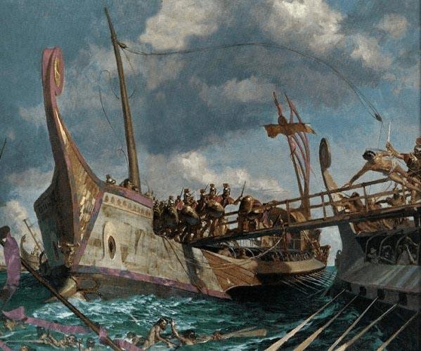 Ilustración que recrea la batalla de Milas, una de las más importantes batallas navales de la Primera Guerra Púnica