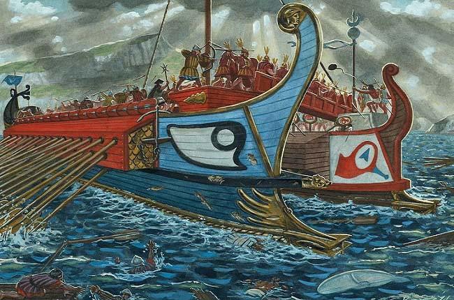 Ilustración que recrea la batalla naval de las islas Égates, la cual abrió las consecuencias de la Primera Guerra Púnica