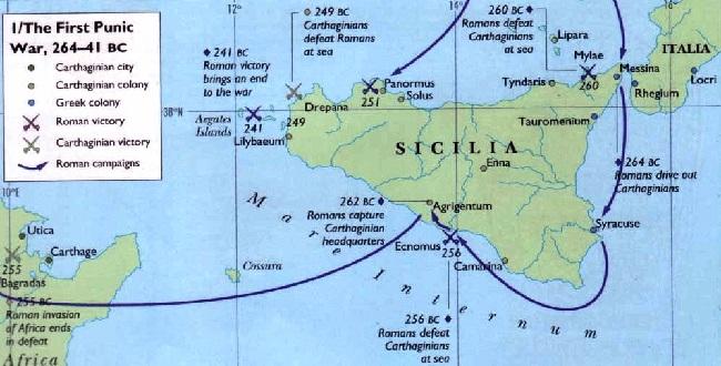 Mapa en inglés que muestra las principales batallas de la Primera Guerra Púnica