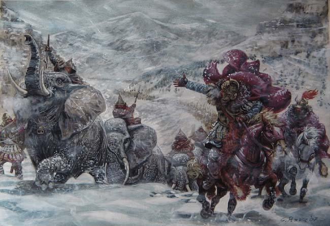 Ilustración que recrea a Aníbal Barca y su ejército en medio de una tormenta de nivele durante su ascenso por los Alpes