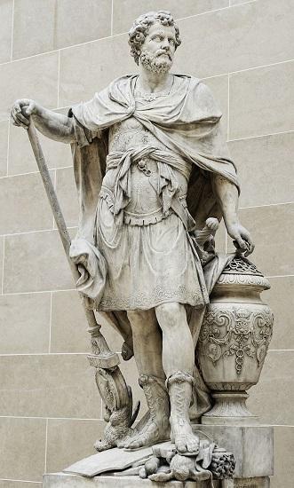 Aníbal contando los anillos de los caballeros romanos como consecuencias de la batalla de Cannas (216 a. C.). Mármol de 1704 esculpido por Sébastien Slodtz, que actualmente se expone en el Museo del Louvre.