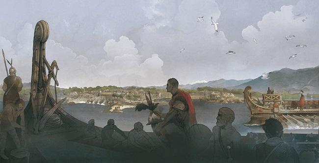 Cneo, hermano de Publio Cornelio Escipión, al frente de la flota romana en Hispania