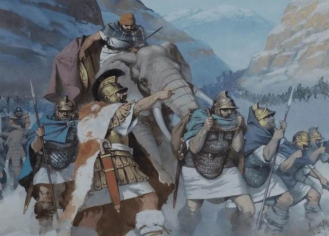 Ilustración que recrea a Aníbal Barca y su ejército cruzando los Alpes (Fuente: Arrecaballo)
