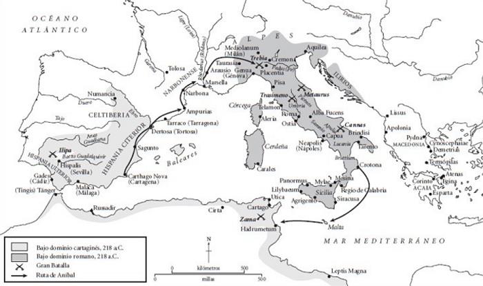 Mapa de los dominios romanos y cartagineses al comienzo de la Segunda Guerra Púnica (218 a.C.). Incluye la ruta seguida por Aníbal Barca en su marcha hacia Italia por los Alpes.