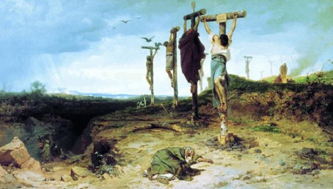 Mercenarios crucificados al final de la guerra de los mercenarios