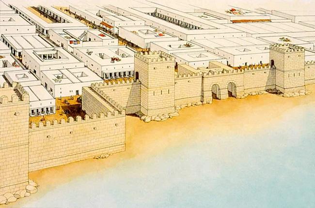 Ilustración que recrea el aspecto de las murallas marítimas de Cartago, centro de la guerra de los mercenarios