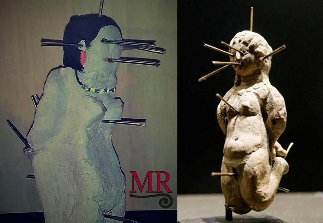 "Figuras de muñecos ""vudú"" o kolossoi para maldiciones romanas"