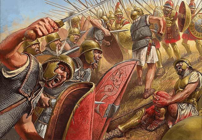 Ilustración que recrea la batalla de Cinoscéfalos (197 a.C.) en la que perdió el aliado de Antíoco III el Grande, Filipo V de Macedonia