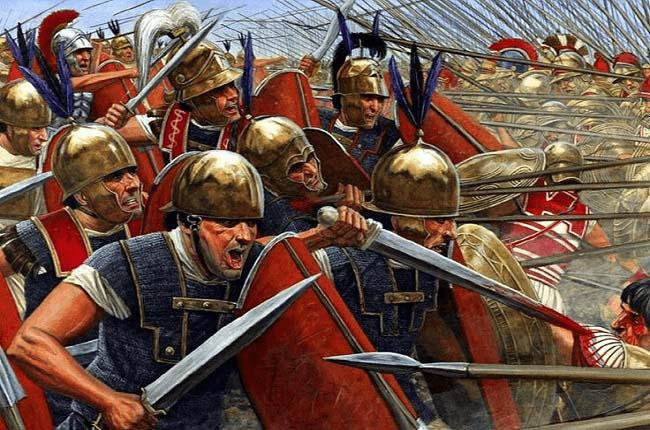 Ilustración que recrea uno de los momentos finales de la batalla de Magnesia entre Antíoco III Megas y los romanos de Escipión el Asiático