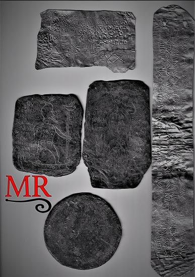 Algunas de las tablillas de maldiciones romanas que realiza el grupo Mos Religiosvs, basadas en las halladas en lugares desde Hispania, norte de África, Italia, etc.