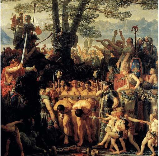 Cuadro hecho por Charles Gleyre en el siglo XIX que recrea la humillación sufrida por los romanos tras una de sus derrotas en las primeras batallas de la guerra cimbria contra cimbrios y teutones