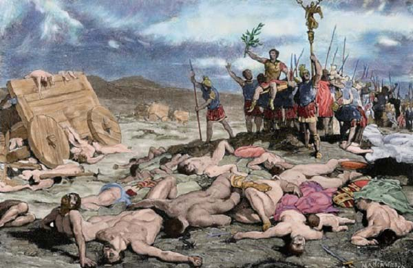 Ilustración que recrea la victoria romana en las batallas de Aquae Sextiae, al final de la guerra cimbria contra cimbrios y teutones