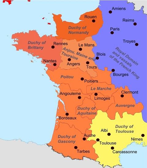 Mapa político de Francia en la segunda mitad del siglo XII, en el origen de los cátaros