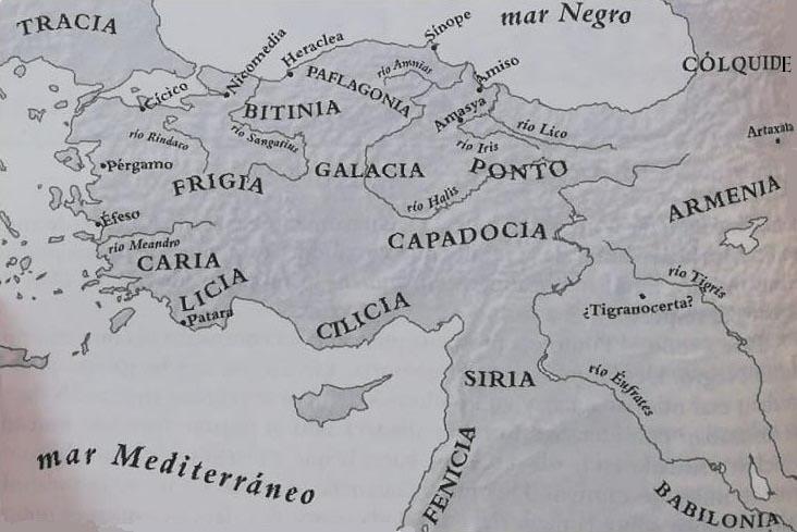 Mapa de las principales regiones y ríos de la península de Anatolia, incluyendo los del reino del Ponto