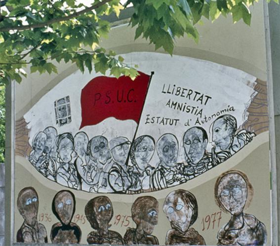 Història de Catalunya. Cardona Torrandell. Mural PSUC 1977