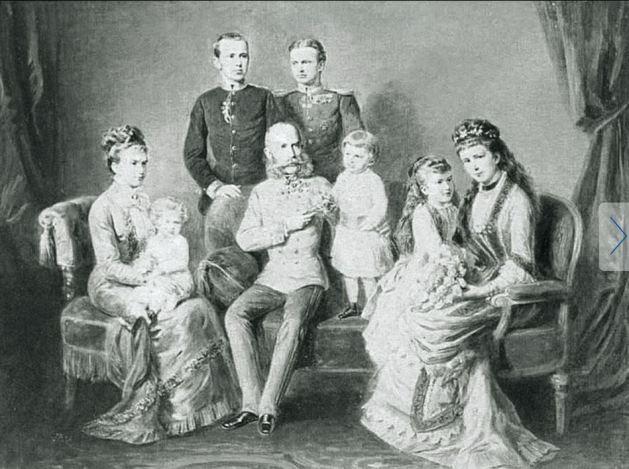 Kaiser Franz Josef mit Kaiserin Elisabeth (Sisi) und ihren Kindern Kronprinz Rudolf, Erzherzogin Gisela und ihrem Mann Prinz Leopold von Bayern und ihren Enkeln