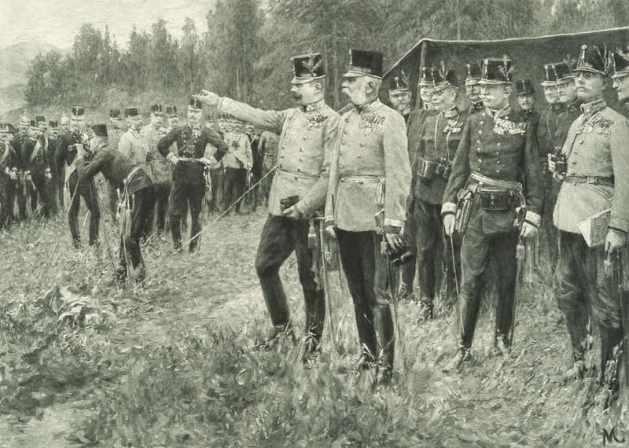 Franz Josef und Franz Ferdinand bei Militärmanövern 1908