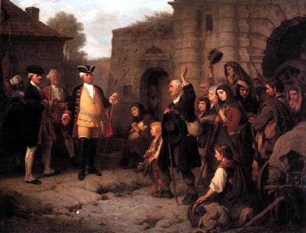 Konstantin Cretius Empfang der Salzburger Protestanten durch König Friedrich Wilhelm I. in Berlin am Leipziger Tor am 30. April 1732, Ölgemälde um 1860