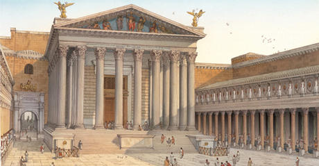 Reconstrucción de la plaza del Foro de Augusto