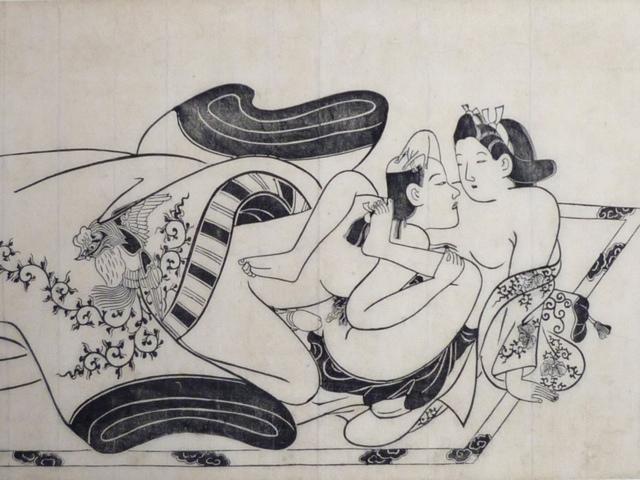 Grabado erótico japonés de principios de la era Edo