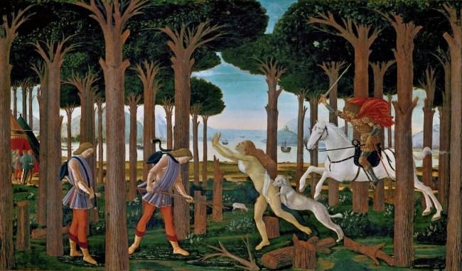 Tabla 1 Nastagio degli Onesti - Botticelli