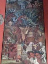 Fragmento de fresco de muralista mexicano Diego Rivera en el Palacio de Gobierno en México DF, que muestra el proceso de elaboración y arraigo en la cultura mexicana