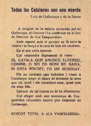 """Afer Galinsoga. El diumenge 21 de juny de 1959, Luis Martinez de Galinsoga, director de La Vanguardia, va anar a sentir la missa de 9h a la parròquia de Sant Ildefons. No li va semblar bé que la missa es digués en català i es queixà a Mossèn Luis Gómez. La protesta va anar pujant de to, fins que sortint de la església cridà: """"¡Todos los catalanes son una mierda!"""""""