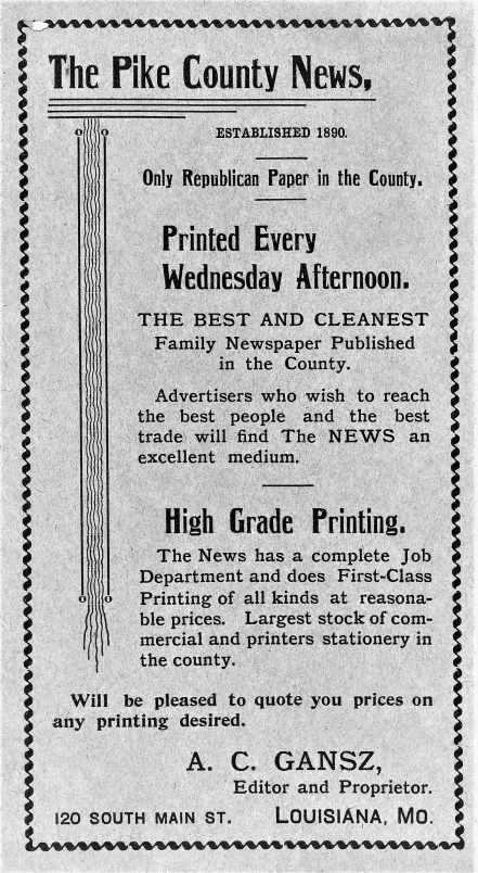 ad 1903 directory for Pike News Gansz