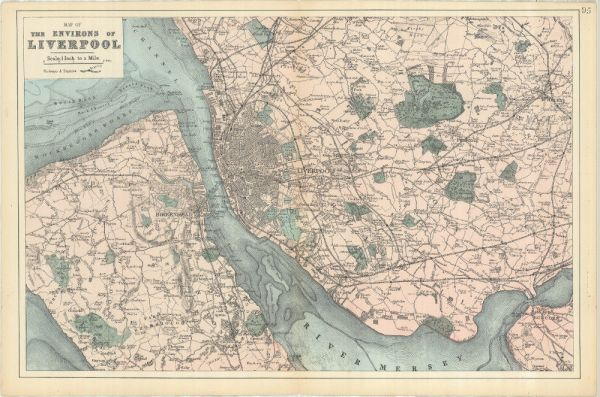 Bacons Map of Liverpool 1885 Print of old map of
