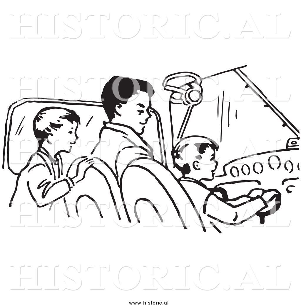 Clipart Of A Dad Teaching His Sons How To Fly An Airplane