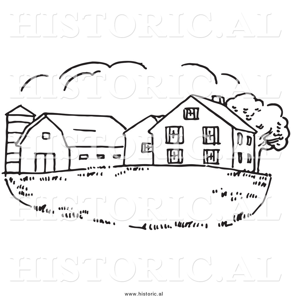 Clipart Of A Farm House With Silo And Barn