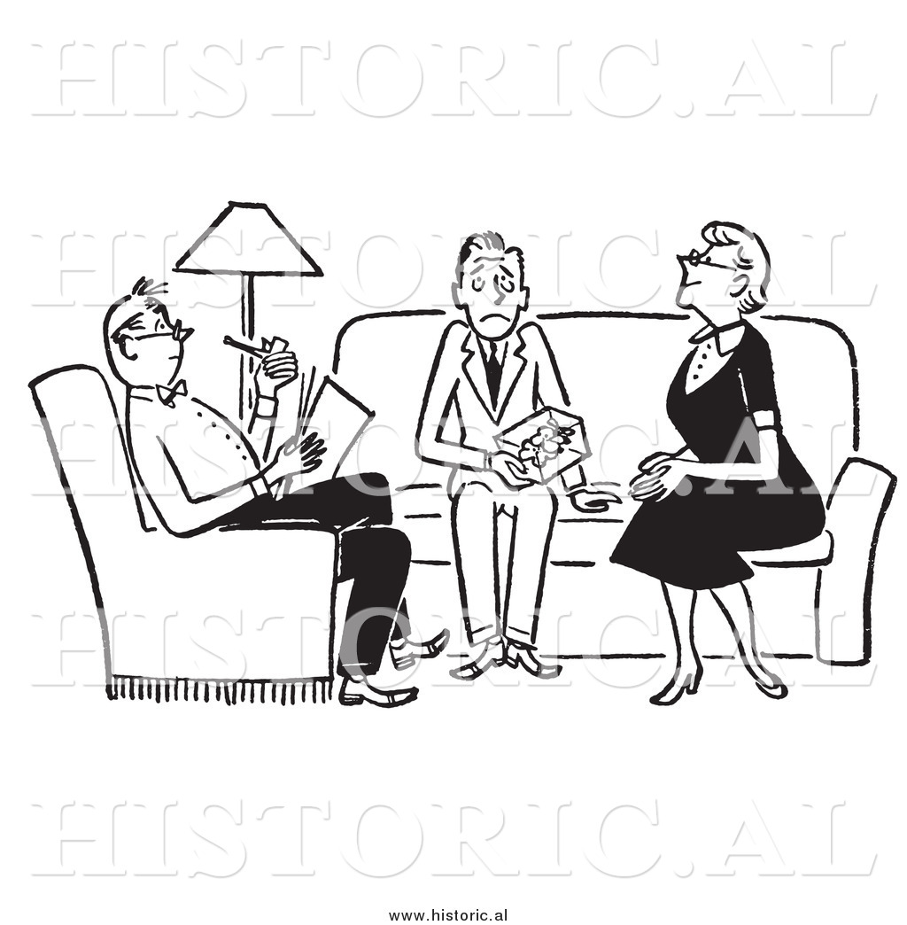 Clipart Of Adults Sitting With Nervous Teenager In The