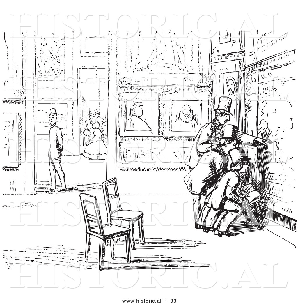 Historical Vector Illustration of People in an Art Gallery