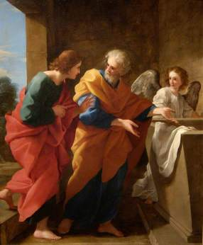 Romanelli, Giovanni Francesco; St John and St Peter at the Empty Tomb of Christ; The Fitzwilliam Museum; http://www.artuk.org/artworks/st-john-and-st-peter-at-the-empty-tomb-of-christ-5556