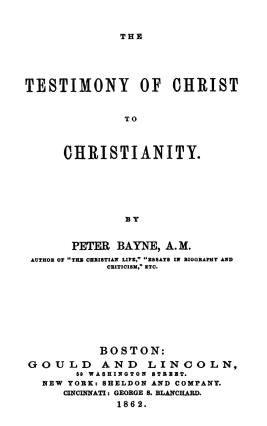 Bayne, Testimony of Christ to Christianity