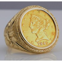 U.S. $5 Liberty Head Gold Coin in Man's Designer 14kt gold ...