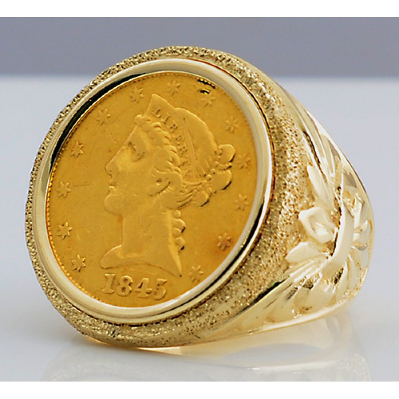 U.S. $5 Liberty Head Gold Coin in Man's Designer 14kt gold