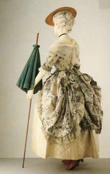Polonaise, painted silk, bergére, 1780s